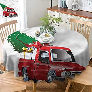 Merry Christmas, Christmas round tablecloth, Round Tablecloth for Kids/Childrens, Polyester Round Tablecloth Great for Buffet Table, Parties, Holiday Dinner & More | Christmas,Red Farm Truck - 66