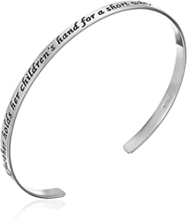 "Sterling Silver ""A Mother Holds Her Children`s Hand For A Short While But Their Hearts Forever"" Cuff Bracelet, 7"""