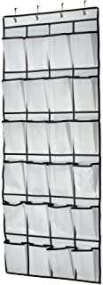 Shoe Organizer Hanging Over The Door, 24 Large Mesh Pockets Shoe Storage with 4 Hooks for Bedroom Closet, 59 X 21.6, White