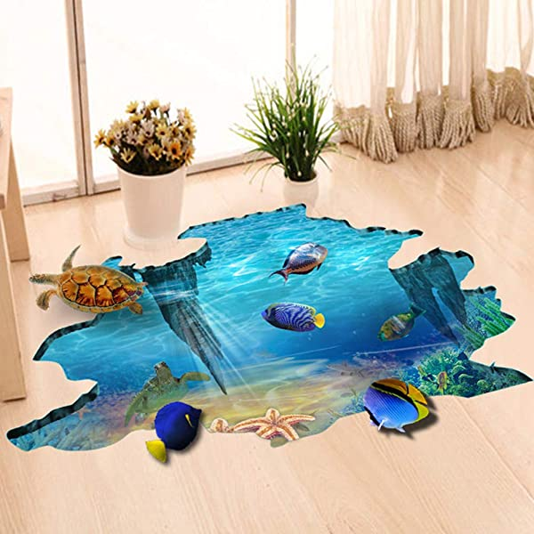 EUGNN 3D Floor Stickers Underwater World Wall Decals Removable PVC Magic 3D Ocean Wall Stickers For Under The Sea Theme Decor Bathroom Floor Sticker Nursery Bedroom Decor