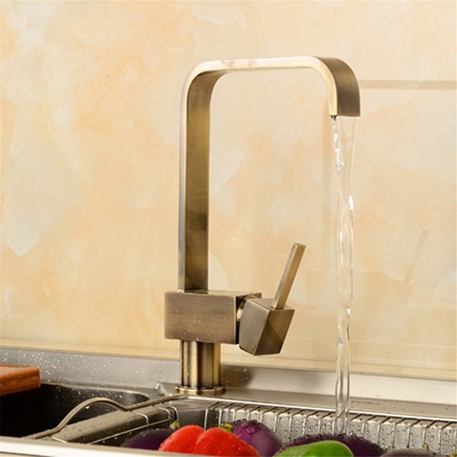 Commercial Single Lever Pull Down Kitchen Sink Faucet Brass Constructed Polished European -?Style?Copper Antique Kitchen Four Way redating ?Hot and Cold Water Faucet