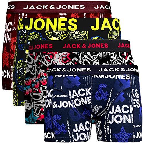 JACK & JONES Herren Boxershorts 4er Pack Shorts Trunks Unterhosen (L, 13)