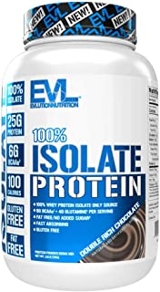Evlution Nutrition 100% Isolate, Hydrolyzed Whey Isolate Protein Powder, 25 G of Fast Absorbing Protein, No Sugar Added, Low-Carb, Gluten-Free (Double Rich Chocolate, 1.6 LB)