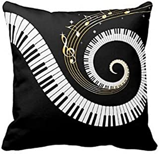 Andreannie Music Theme Piano Golden Musical Notes Cotton Linen Throw Pillow Case Cushion Cover Home Office Decorative Squ...