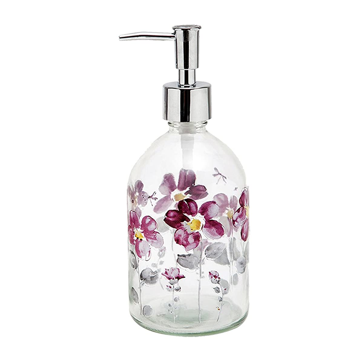 Topadorn 17oz Flower Glass Soap Dispenser Bottle with Plastic Pump