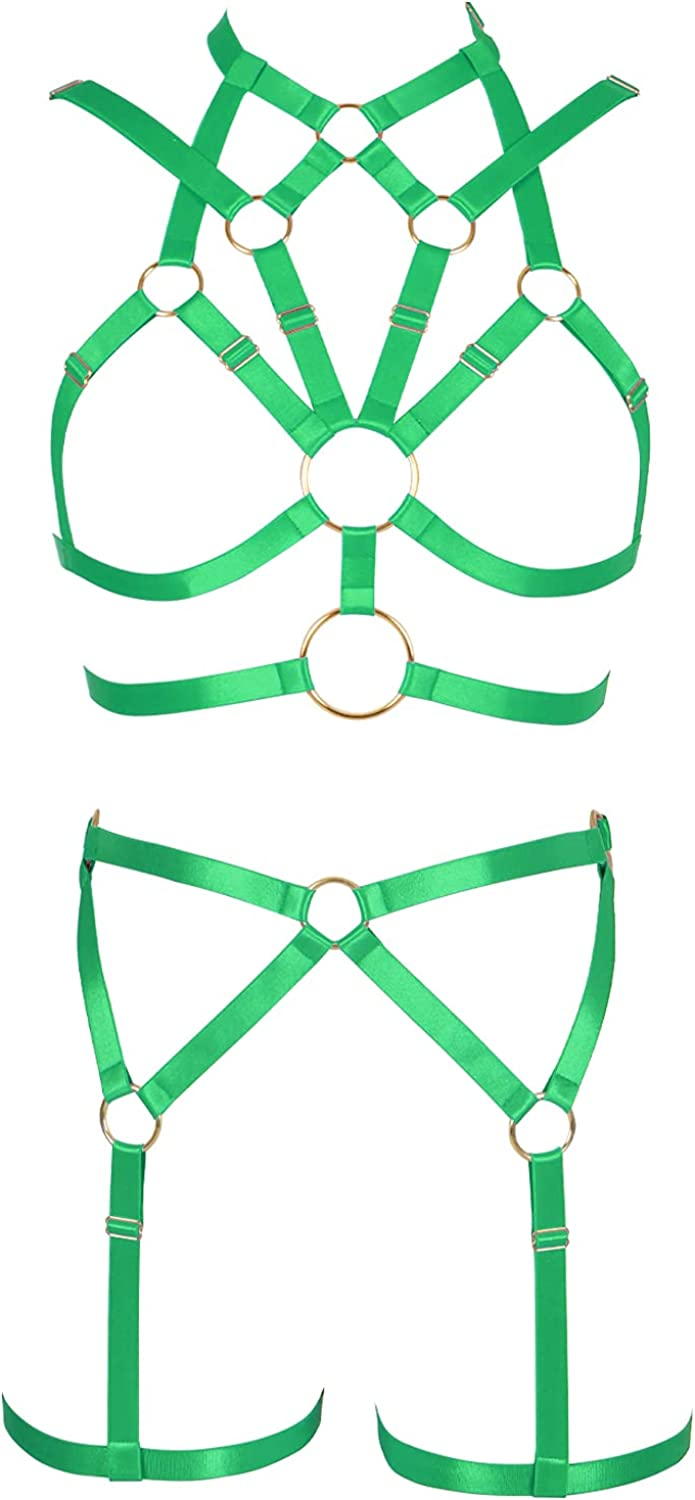 Body Luxury goods Today's only Full Cage Harness Bra Garter Set Hollow Women Rave Belt Out