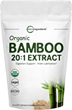 Organic Bamboo Extract Powder, 8 Ounce, Strongly Supports Healthy Skin, Nail, Hair, Joints and Bones with Minerals and Sil...