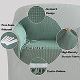 BellaHills Dicke 1 Sitzer Sofabezüge für 2-Kissen-Couch Stilvolle Muster-Sofabezüge für Sofa Stretch Jacquard Sofa Schonbezug für Wohnzimmer Hund Haustier Möbelschutz (2 Sitzer, Salbei) - 7