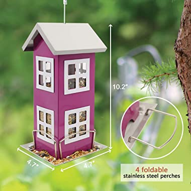 Goodeco Bird House Feeders for Outside,Hanging Bird feeders Weatherproof Country House Design for Easy Cleaning & Refills