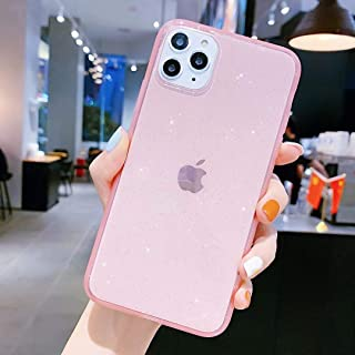 iPhone 11 Pro Max Case for Girly,Anynve Clear Glitter Sparkle Bling Case [Air Cushion Anti-Shock Matte Edge Bumper Design] Cute Slim Soft Silicone Gel Case Compatible for iPhone 11 Pro Max 6.5''-Pink