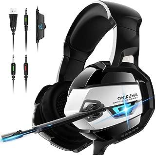 ゲーミング ヘッドホン ONIKUMA ゲーミング ヘッドセット PCヘッドフォン マイク360度調節可能 高音質 ゲーム用 PS4/PC/Mac/スマホ対応 男女兼用(シルバー)