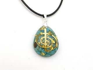 Turquoise Waterdrop Shaped Orgonite Pendant Necklace With Cho Ku Rei Symbol