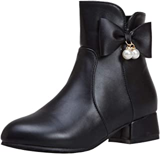 ELEEMEE Women Block Heel Short Boots Zip Sweet Bow