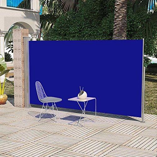 terrasse IKAYAA Auvent r/étractable Manuel pour fen/être ray/é Bleu et Blanc Balcon Largeur: 300 cm Jardin