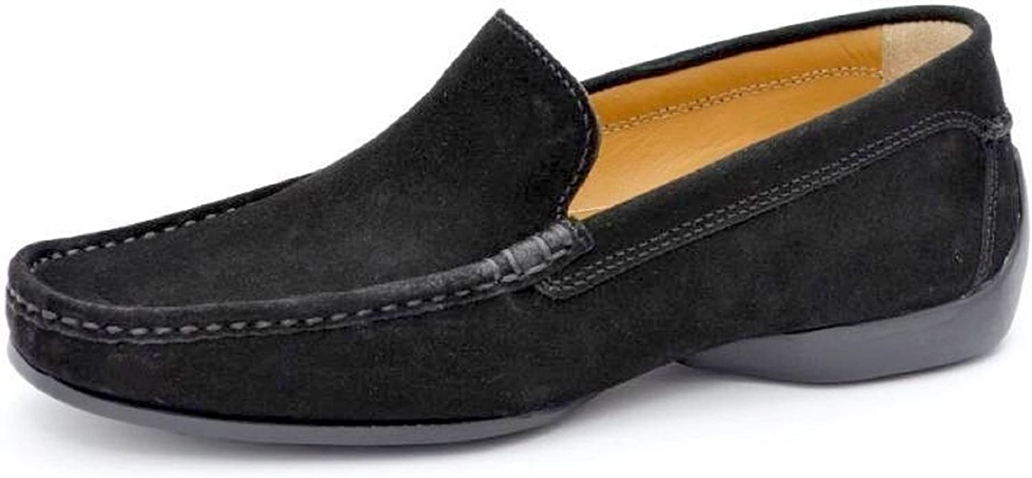 Pratik Albert mens loafer Beste driving shoes.Very flexible combination of quality leather and rubber sole.very comfortable every day wear (39, Black Suede leather)