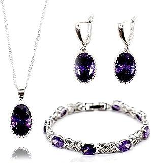 GZJY Women Wedding Jewelry Set Purple Cubic Zirconia Bracelet Earrings Necklace Pendant Bridal Jewelry