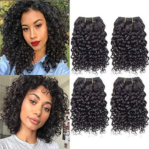 Selina Brazilian Curly Hair Bundles 4 Bundles Kinky Curly Short Human Hair Brazilian Virgin Human Hair 50 Gram/Bundle (8 8 8 8 , Natural Color)