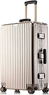 GLJJQMY Scratch-Resistant Aluminum Frame Suitcase Rotary Wheel Trolley Case 20/24/26/29 Inch Boarding Case Trolley case (Color : Metallic, Size : 26 inch)