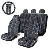 10pc rayas multicolor funda de asiento baja sillín asiento Universal de tejido de manta para funda para coches, camiones, SUV y Furgonetas con volante cubierta