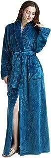 Winter Thicken Velvet Warm Women Solid Pocket Waistband Robe Bathrobe Gown Pajamas Sleepwear