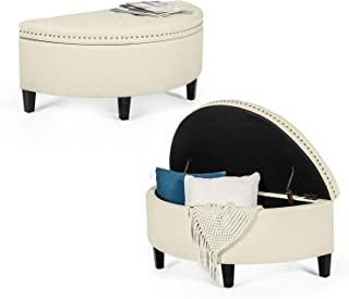 Joveco Storage Bench Half Moon Button Tufted Ottoman for Bedroom Entryway (Beige)