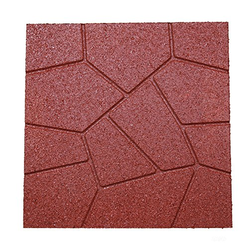 """RevTime Dual-Side Garden Rubber Paver 16""""x16"""" for Patio Paver, Step Stone and Walk Way, Safety Rubber Tile Red (Pack of 6)"""