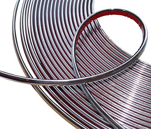 Aerzetix: 8mm 4.5m Klebebandstreifen Chrom-Nickel-Silber-Farbe