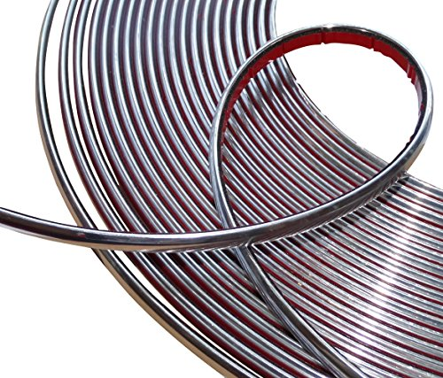 Aerzetix: 8mm 4.5m Bande Baguette adhésive Couleur Chrome Nickel Argent