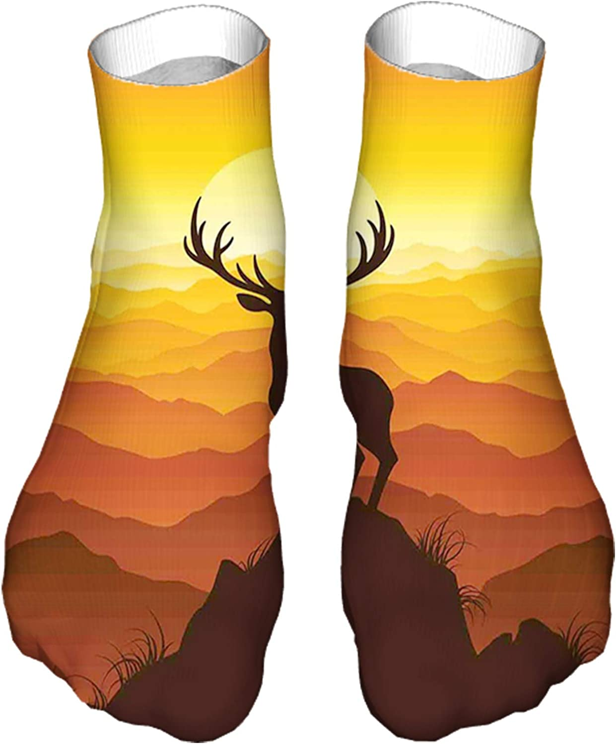 Women's Colorful Patterned Unisex Low Cut/No Show Socks,Deer at Sunset Adventure Wildlife Panoramic Valley Hill