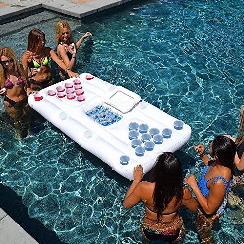 QYWSJ Aufblasbares Luftmatratze-Bett, Bier Pong Spiel Pool Party Float, Game Pool Table Water Floating, Getränkekühler, Für Erwachsene (180cm)