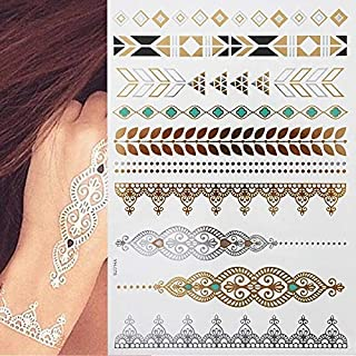 Flash Metallic Waterproof Tattoo Gold Silver Women Fashion Henna/Peacock Design Temporary Tattoo Stick Paster (Color : YH078)
