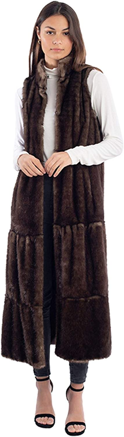 Brown Mink Full-Length Tiered Faux Fur Vest (XS) (Brown)