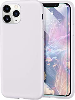 MILPROX iPhone 11 Pro Case with Screen Protector, Liquid Silicone Gel Rubber Shockproof Slim Shell with Soft Microfiber Cloth Lining Cushion Cover for iPhone 11 Pro 5.8 inch (2019)-White