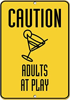 Caution Adults at Play Traffic Sign Aluminum Metal Sign 9 in x 12 in