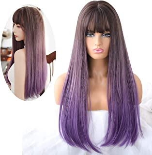 7JHH WIG Hair Dye Wig for Women,Heat Resistant Synthetic Hair Natural Long Straight With Free Wig Cap (Purple)
