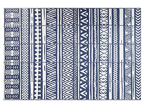 Famibay Tapis de Sol Plastique Tapis de Terrasse Extérieur Imperméable Tapis de Camping Pliable Tapis de Salon Grande 6x9Ft Tapis d Interieur Bleu Foncé pour Jardin Balcon Pique-Nique Pont Plage