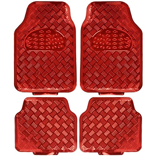 BDK MT-641-RD Red Universal Fit 4-Piece Set Metallic Design Car Floor Mat-Heavy Duty All Weather with Rubber Backing
