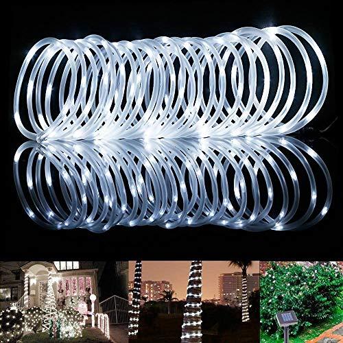 ShinePick Solar Lichterkette Aussen, 12M 100 LED Solar Lichtschlauch, Automatisch An/Ausschalten Wasserdicht Solarlichterkette Außenlichterkette Weihnachtsbeleuchtung für Garten Aussen Deko(Weiß)