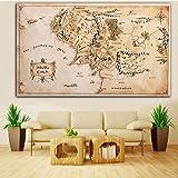 XiaoMall Póster de tela de seda de 110 x 60 cm, diseño de mapa de la Tierra Media, el Señor de los Anillos, decoración del hogar