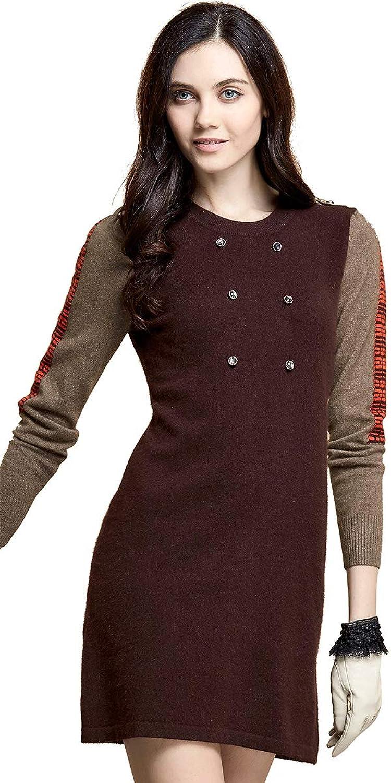 Zhili Women's Round Neckline Cashmere Sweater Dress
