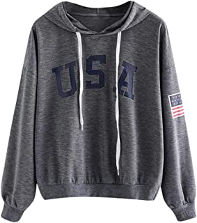 FEISI22 Women's Print Casual Thick Crop American Flag Top Ultra Soft Fleece Solid Taping Crew Neck USA Sweatshirt