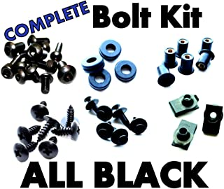 Complete Black Fairing Bolt Kit Screws Fasteners for Kawasaki ZX-10R 2006-2007