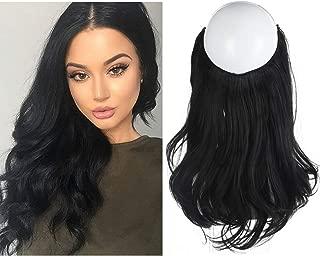 SARLA Black Hair Extension Short Wavy Curl Halo Wire Sercet Crown Synthetic Natural Hairpieces No Clip No Glue No Tape Heat Resistant Fiber 14