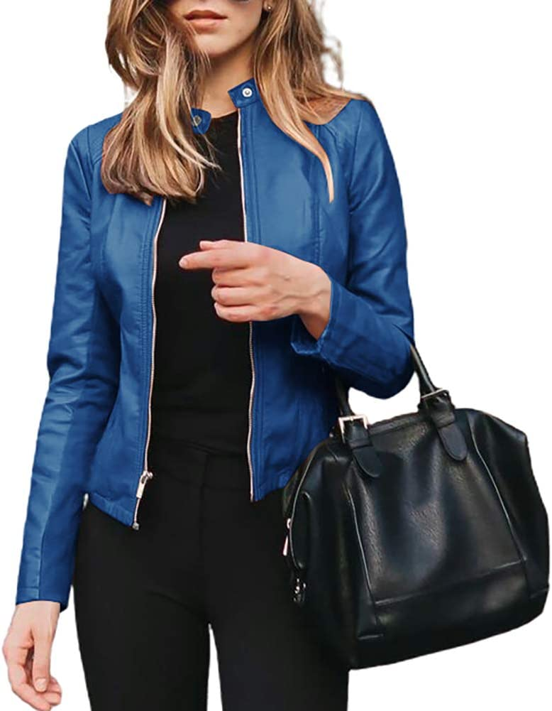dSNAPoutof Women Suit Jacket, Fashion Autumn Winter Jacket Short Faux Leather Slimi Fitting Suit Coat Outwear Coat for Girls Party Travel Outdoor Shopping Street Wear Blue 4XL
