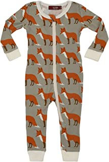 MilkBarn Organic Cotton Zipper Pajama - Orange Fox