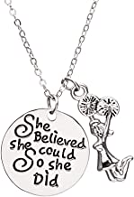 Sportybella Cheer Charm Necklace - Cheer She Believed She Could So She Did Jewelry, for Cheerleaders