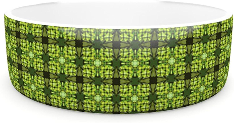 Kess InHouse Matthias Hennig Floral Green  Pet Bowl, 7Inch, Floral Geometric