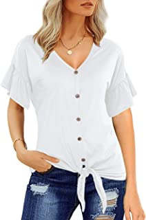 Women Ladies Lace Tie Up Denim Floral Embroidery Turn Up Sleeve Baggy T-Shirt