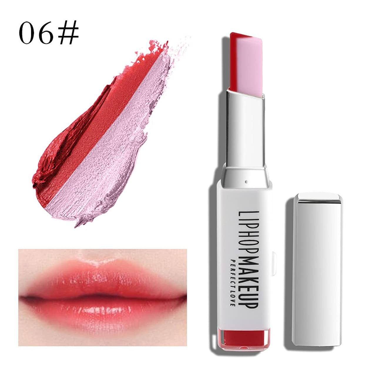 解読する元に戻す解読する1 PC Popular Waterproof Women Multicolor New Two Tone Lipstick #6