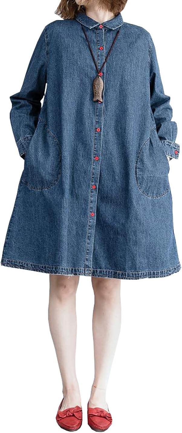 PAODIKUAI Women Casual Mid Long Lapel Collar Long Sleeve Denim Jacket